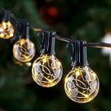 GlobaLink Lichterkette Außen, 11,7M G40 Lichterkette Glühbirnen Garten Lichterkette Terrasse Wasserdicht IP65 mit 30 +3 Ersatzbirnen Globe Birnen Innen/Außen für Zimmer, Bar, Garten, Balkon-Warmweiß