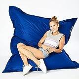 Green Bean © Square XXL Riesensitzsack 140x180 cm - 380L - Indoor & Outdoor - waschbarer Bezug mit Klett- und Reißverschluss, doppelt vernäht - Sitzsack Lounge Chair Sessel für Kinderzimmer - Blau