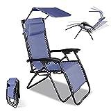 Sonnenliege Liegestuhl Klappbar Strandliege Mit Einstellbar Sonnenschutz, Kopfstütze, Schwerelosigkeit Liegestuhl Garten Anti-Schwerkraft mit Atmungsaktivem Stoff Für Entspannen Im Freien