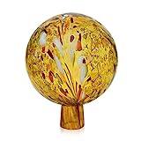 Lauschaer Glas Gartenkugel Rosenkugel mit Granulat gold d 12cm mundgeblasen handgeformt