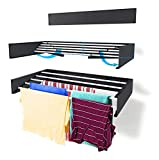 Step Up Wäscheständer - wandmontiert - ausziehbar - Wäscheständer klappbar, faltbar für drinnen oder draußen - platzsparendes, kompaktes Design, 25 kg Tragkraft, 6 m Leitung (70 cm - Grau)