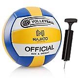NAJATO Sports Volleyball – Beachvolleyball inkl. Ballpumpe – Langlebiger Volleyball für den Outdoor & Indoor Bereich (Gelb - Blau - Weiß)