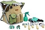 INNO STAGE 10-Teiliges Gartenwerkzeug Set mit Tasche und Sitz, Garten Handwerkzeugen und Zubehör Set Mit Aufbewahrungstasche, Unkrautausstecher, Schaufel, Kelle und viel mehr