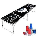 AufuN Beer Pong Tisch Set inkl. 100 Becher (50 Rot & 50 Blau), 5 Bälle, Premium Höhenverstellbar Bierpong-Tisch aus Aluminium und MDF, Classic Party Spiel, Schwarz