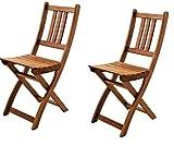SAM 2er Set Akazien-Holz Gartenstuhl, ideal für Balkon, Garten Terrasse, zusammenklappbar