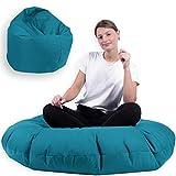 Sitzsack 2 in 1 mit Füllung Indoor Outdoor Sitzkissen 3 Größen Yoga Kissen BeanBag (100cm Durchmesser, Türkis)