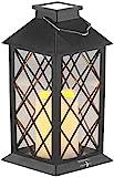 Lunartec Solarkerzen: Solar-Laterne mit Deko-Kerze und Flammen-Effekt-LED, Dämmerungs-Sensor (Laterne Solar Lampe)