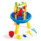 COSTWAY 2-in-1 Sand- und Wasserspieltisch, 30 TLG. Sandkastentisch für Kinder, Kinderspieltisch, Strandspielzeug-Set, Sandkasten Spielzeug für den Innen- und Außenbereich
