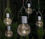 Fachhandel Plus LED Hänge-Solarleuchten 5 Stück Kristallglas Solarlampen hängend Gartenkugel warmweiß