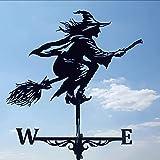 Alnicov Wetterfahne aus Metall, Witch Wetterfahne aus Edelstahl, mit Dachhalterung, Gartendekoration für den Außenbereich, Bauernhof, Garten, Pavillon