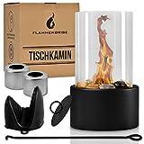 Flammenbrise Tischkamin   Tischfeuer für Indoor und Outdoor   Ethanol Kamin mit [200g] Natursteinen   INKL. 2 Brennkammern   Unendliche Brenndauer