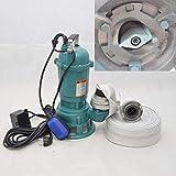 Fäkalienpumpe CTR1500 Tauchpumpe Schmutzwasserpumpe 1500W - 24000l/h m. Schneidmesser + 20m C-Schlau