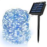 Ankway Solar Led Lichterkette (200 LED, 72 ft/ 22M, 8 Modi), wasserdicht Solar Lichterkette mit 3-Strang Kupferdraht für außen/innen, Garten, Schlafzimmer, Party, Weinachten, Hochzeit (Blau)
