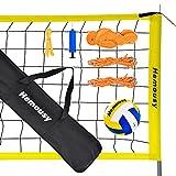 wowspeed Beachvolleyball Netz, Faltbare Volleyball komplettes Netz Set mit Stahlpfosten, Feldmarkierung, Volleyball und Tragetasche, 9,5m x 1m, Höhenverstellbar Professionelle Netze für Garten Strand