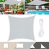 Wokkol Sonnensegel, Sonnenschutz Sonnensegel Wasserdicht, Sonnenschutz Balkon Hergestellt aus Hochwertigem Polyester mit UV Schutz, 160 g/m2 für Garten/Balkon/Terrasse (Grau, 3M*3M)