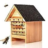 Skojig© Bienenhotel aus Naturholz - Nisthilfe & Unterschlupf für Wildbienen   ideal für Garten oder Balkon - wetterbeständiges, unbehandeltes Massiv-Holz : Insektenhotel Insektenhaus Bienenhaus