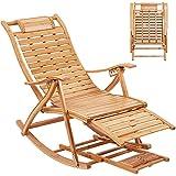 FATIVO Liegestuhl Holz Schaukelstuhl verstellbar Sonnenstuhl,Bambus Sonneliege klappbar mit Armlehne, Fußstütze und Fußmassage