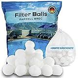 Farrell Brec Pool Filterbälle inkl. GRATIS Wäschenetz - Extra langlebige Filter Balls für glasklares Wasser im Pool -Ersatz für Quarzsand, Filterglas, Filtersand- Filterballs für die Sandfilteranlage