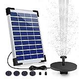 AISITIN Solar Springbrunnen 5.5W Solar Teichpumpe mit Solar Panel Eingebaute 1500mAh Batterie Wasserpumpe Solar Schwimmender Fontäne Pumpe mit 6 Fontänenstile für Garten, Vogel-Bad