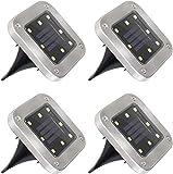 Mitening Solarleuchte Garten, 4 Stück 8 LED Solarlampen Aussen Gartenleuchten Außenleuchte Wasserdicht IP65 Landschaftslichter Bodenleuchten für Rasen Auffahrt Innenhof Gehweg Landschaft Warmweiß