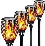 FLOWood Solar Gartenfackel realistischer Flammeneffekt 2 in 1 Solar Hängeleuchte für Garten Solar Gartenleuchte IP65 wetterfest ABS 4 Stück [Energieklasse A+] [Energieklasse A+]
