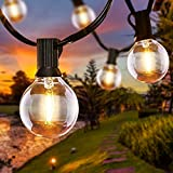 Qxmcov LED Lichterkette Außen, 6.8 Meter Garten Lichterketten Außen Innenbeleuchtung 16er Glühbirnen mit 2 Ersatzbirnen, Innen/Außen Lichterketten für Garten, Terrasse, Hochzeiten, Partys, Warmweiß