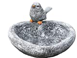 stoneandstyle Vogeltränke Herz mit Steinfigur Vogel, Garten Deko, massiver Steinguss, frostfest bis -30°C