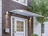 Schulte Vordach 205x142 cm Haustür Überdachung Edelstahl rostfrei Acrylglas Durchgehend und milchig Pultvordach LT-Line