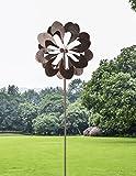HAFIX XXL Windrad - Windblume - mit Zwei Blumen für 3D Optik Windspiel aus Metall mit max. Höhe 183cm. Windspiel für Garten als Dekoration UV-beständig und wetterfest.