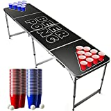 Offizieller Black Beer Pong Tisch Set | Full Beer Pong Pack | Inkl. 1 Beer Pong Tisch + 120 53cl Becher (60 Rot & 60 Blau) + 6 Ping-Pong-Bälle | Premium Qualität | Partyspiele | Trinkspiele