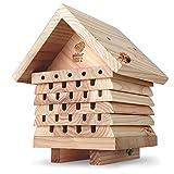 wildtier herz I Bienenhotel, schwere Ausführung aus verschraubtem Massiv-Holz, Nisthilfe für Wildbienen, wetterfest & unbehandelt, Bienenhaus Insektenhotel