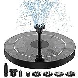 Solar Springbrunnen 2021 Upgrade, AISITIN 2.5W 160mm Solarbrunnen Solar Teichpumpe Outdoor Wasserpumpe Solar Schwimmender Fontäne Pumpe mit 6 Fontänenstile für Garten, Vogel-Bad, Fisch-Behälter