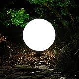 Außen-Garten-Kugel-Leuchte-Lampe Marlon D:30cm Kugel Kunststoff weiß mit Erdspieß, E27 x 1, IP44 Dekorations-Wege-Pfad-Leuchte-Lampe