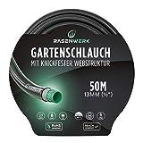 RASENWERK® - Gartenschlauch mit knickfester Webstruktur - Formstabil und flexibel - Gewebeschlauch - Wasserschlauch - Schlauch 1/2 Zoll 50m