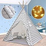 Tiny Land Tipi Spielzelt für Kinder Kinderzimmer mit Gepolsterter Matte & Lichterkette- 100% Baumwolle Segeltuch Tippi Kinderzelt Indianerzelt (Grauer Chevron 165cm Hoch )