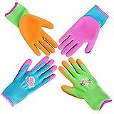 GRÜNTEK Kinder-Gartenhandschuhe XXS (Größe 5), Set mit 4 Paar Schutzhandschuhe, rutschfeste Latexbeschichtung, BPA-frei, geprüft und zertifiziert nach EN 420 & EN 388