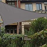 HAIKUS Sonnensegel 5x5x5 Meter Dreieckig Wasserdicht, 95% UV Schutz Polyester Dreieck Wasserabweisend Sonnenschutz für Garten Balkon und Terrasse, Grau(5x5x5m)