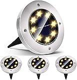 Mezone Solar Bodenleuchten,8 LEDS Solarleuchten für Außen, Wasserdicht IP65 Gartenleuchten, Warmweiß Solarlampen led Solarlicht Garten Licht für Rasen/Auffahrt/Gehweg/Patio/Garden
