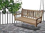 Junado Möbel Outlet Gartenschaukel Susana aus Teak Holz Schaukelbank hängende Bank Breite wetterbeständig und stabil geschliffen und naturbelassen braun 120 x 60 x 65 cm