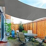 OKAWADACH Sonnensegel Rechteckig 3x4m, 95% UV Schutz Polyester Sonnensegel Wasserdicht inkl Befestigungsseile Sonnensegel Sonnenschutz für Garten Balkon und Terrasse, HellGrau