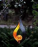 Kamaca LED SOLAR Hänger Amber Solarleuchte Gartenleuchte mit 1 Amber LED mit SOLARPANEL Outdoor (Flamme HÄNGEND - Amber)