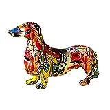 Twinkling Harz Bunte Hund Figur, Hund Gartenstatue Dackel Statue Tierfiguren, Gartenstatue Handwerk Sammlung Für Wohnzimmer Schlafzimmer Bücherregal Eingang Modegeschäft Galerie