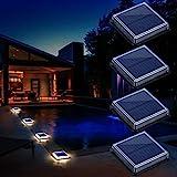 Solarleuchten Außen, LED Wegeleuchten Garten Solarlampen Bodenleuchte Treppe am Bodeneinbauleuchten Solarlampen mit Lichtsensor für Terrassen Gehweg Holzbrücke Hof Boot, IP68 Warmweiß 3000K, 4 Stück
