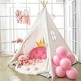 Tipi Zelt für Kinder - Faltbares Kinderspielzelt für Jungen mit Tragetasche - Segeltuch - Kinderspielhaus - Spielzeug für Mädchen oder Kind - Drinnen und Draußen
