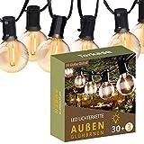 Torkase 10M LED Lichterkette Glühbirnen Außen und Innen - 30+3 G40 Birnen Lichterketten IP44 Wasserdicht für Party Deko Garten Festival Balkon, Warmweiß