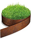 IRKA Rasenkantenband Cortenstahl Garten 25cm x 10m x 1mm | Cortenstahl Rasenkante Rost mit Versteifungskante 20 cm | Flexible Beeteinfassung Metall Rost | Rasenkante aus Cortenstahl