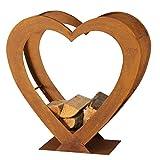 Boltze Regal Kamin Feuer Holz Aufbewahrung Ständer Herz Design Rost Innen Außen Deko H 75 cm 3456500