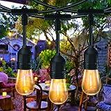 15M Led Lichterkette Außen, Bomcosy S14 Lichterkette Gluehbirne Aussen LED, IP65 Wasserdicht, Lichterkette Garten mit LED Birnen,Warmweiß 2700K Beleuchtung für Innen und Außen Deko Garten Hochzeit