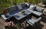 Bomey Ecklounge Santorini mit HPL Terrassentisch + 1 Lounge Sessel (hell/mittelgrau) I Gartenmöbel-Set bestehend aus Gartensofa, höhenverstellbarer Alu-Tisch + 1 Lounge-Stühle I Moderne Gartengarnitur