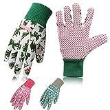 COCHIE 3er Set Gartenhandschuhe für Damen,Antirutschbeschichtung Arbeitshandschuhe Einheitsgröße mit PVC-Punkten Zum pflanz-und Arbeitshandschuhe Gartenarbeit (Grünes rosa Marineblau Blumenmotiv)